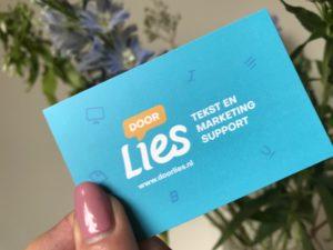 Door Lies van start als freelance tekstschrijver en communicatiespecialist - visitekaartje